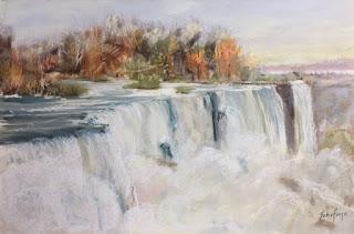 kschifano, painting Niagara, American falls