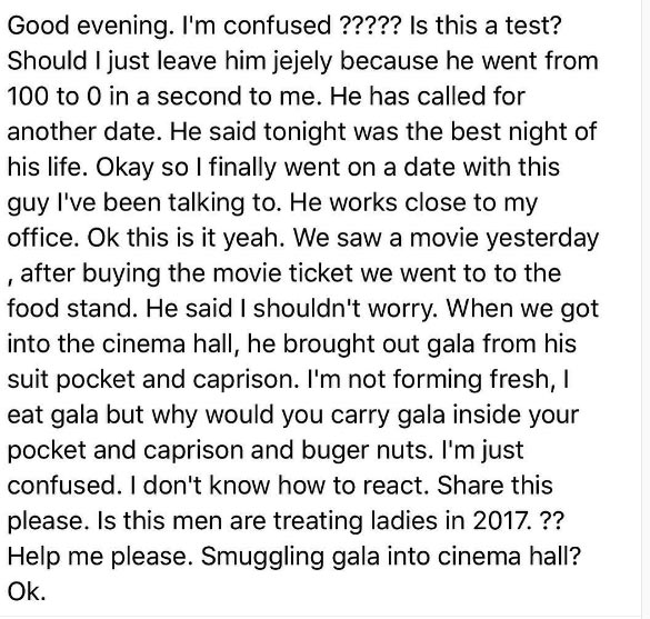 Nigerian lady is confused after her date smuggled Gala and Caprisonne into cinema