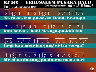 Lirik dan Not Kidung Jemaat 155 Yerusalem, Pusaka Daud
