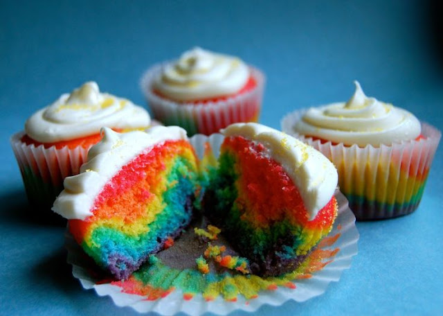 Rainbow Cupcakes - Do your students have summer birthdays? During the school year you can celebrate their half birthday so they don't feel left out!