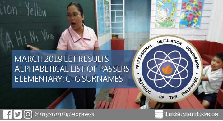 C-G Passers Elementary: LET Results March 2019