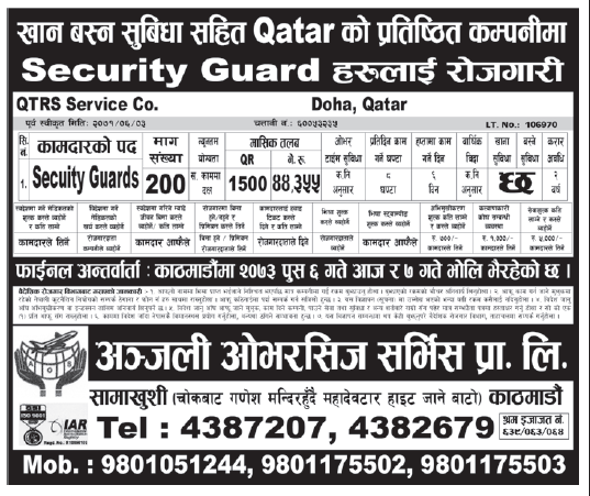 Jobs in Qatar for Nepali, Salary Rs 44,355