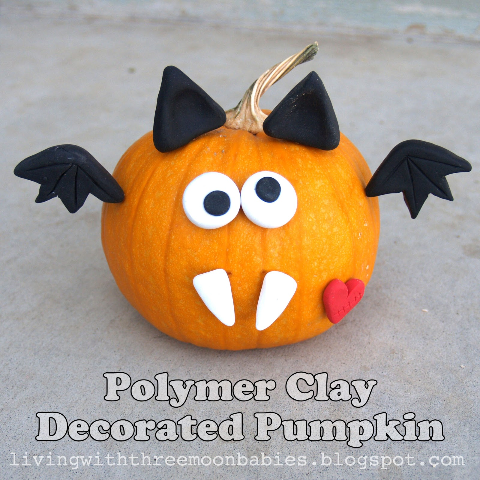 Living With Threemoonbabies Polymer Clay Decorated Pumpkin