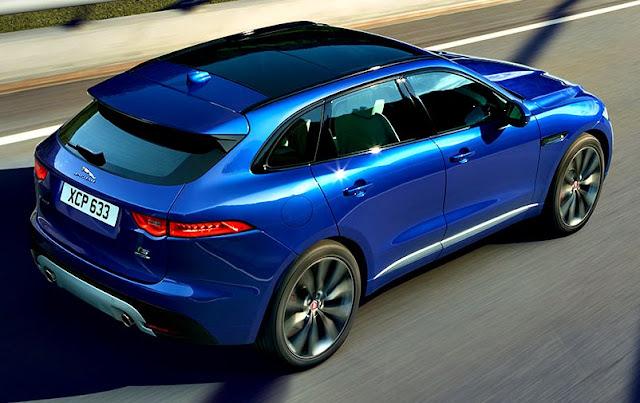 Jaguar F-Pace trasera azul rey
