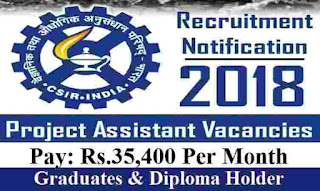 CIMFR Recruitment 2018