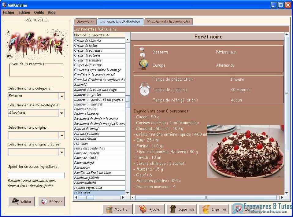 Makuisine un logiciel en fran ais pour classer et - Schema de cuisine gratuit ...