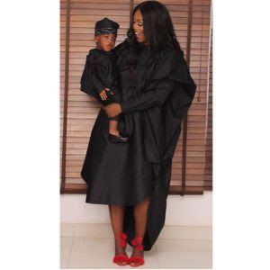 Tiwa Savage and Jamil her Son Rock in Agbada Outfit