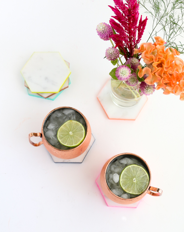 Marble Hexagon Coasters with colorful edges - DIY Project - Fall Home Decor - Colorful Home decor - home accessories - craft project