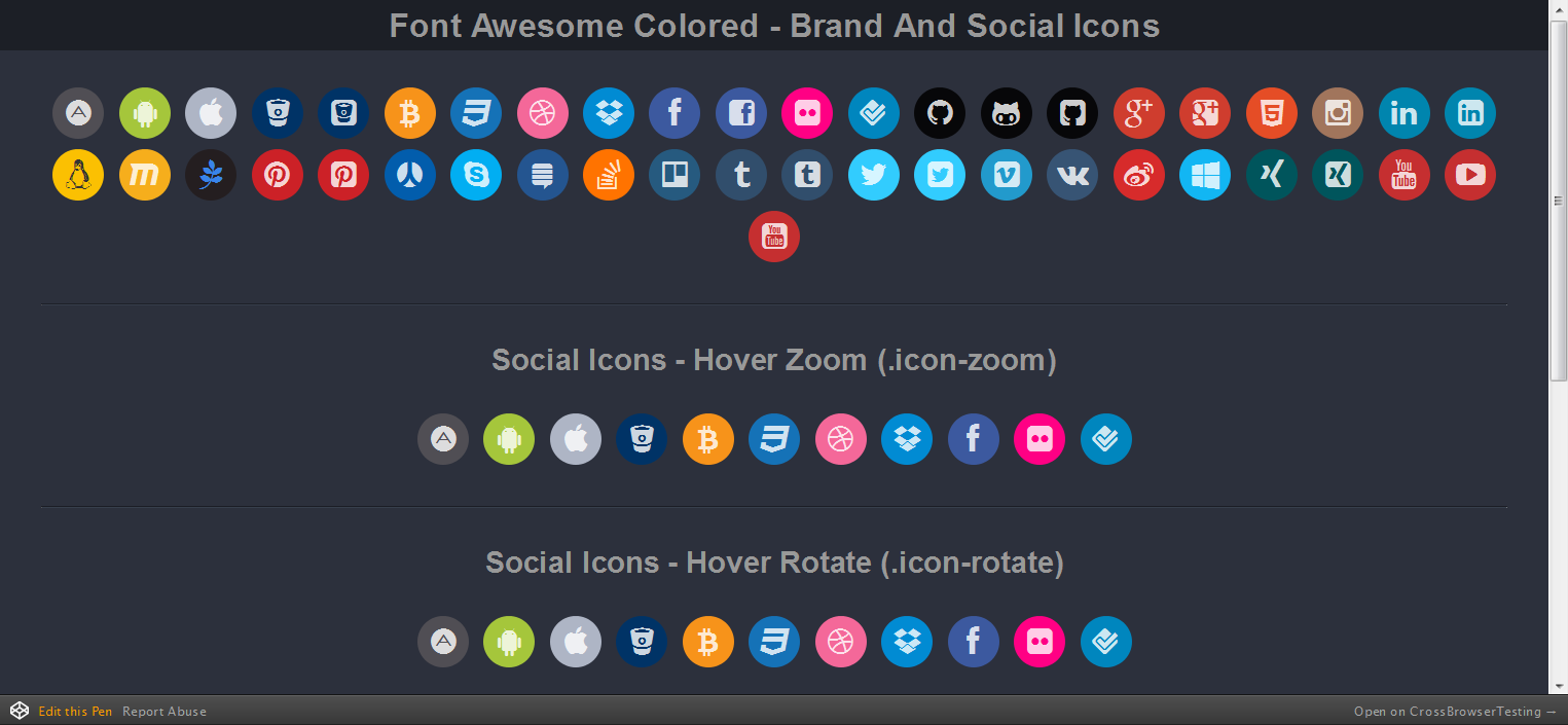 Font Awesome Colored Collections - Brand And Social Icons -