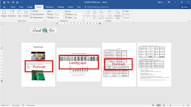 Membuat Tampilan Portrait Dan Landscape Dalam Satu File | Microsoft Word