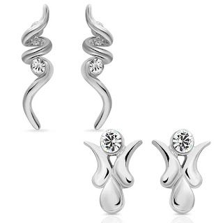 Mahi Eita Collection Rhodium Plated Fashion Earrings