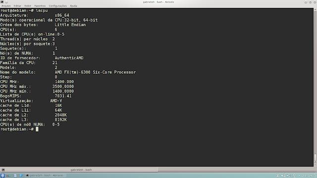 Aqui mostro as especificações do novo processador