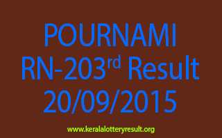 POURNAMI RN 203 Lottery Result 20-9-2015