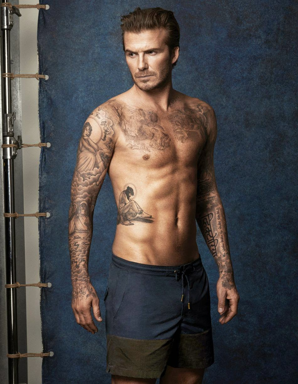 David Beckham wearing a swimsuit
