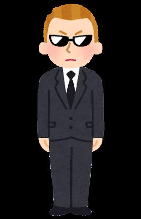 黒服にサングラスの白人男性のイラスト