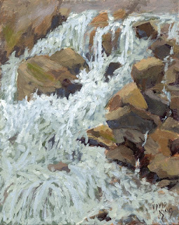 painting landscape water fall creek stream mountain rock