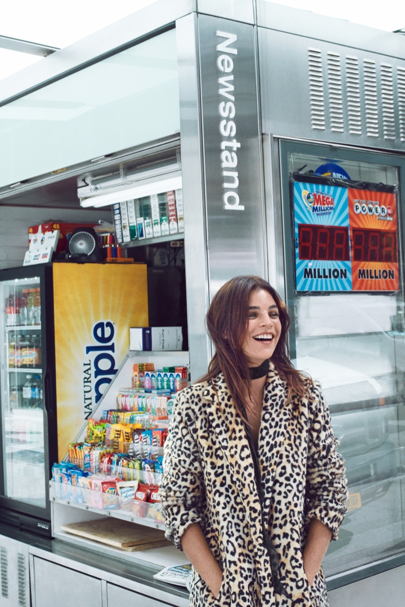 Julia Restoin-Roitfeld flashes a smile in Mango leopard print faux-fur coat