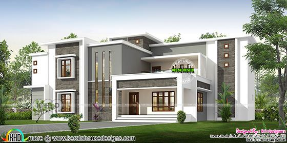 Wide contemporary house front view rendering