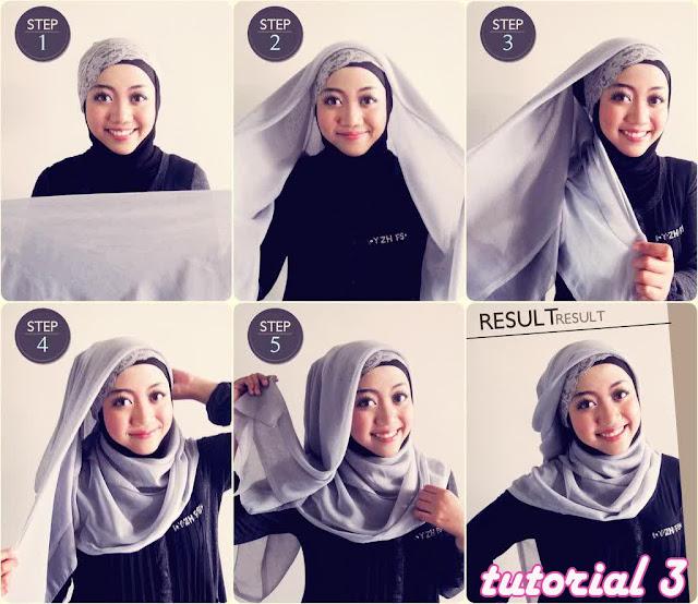 Cara Memakai Jilbab Segi Empat Untuk Wajah Bulat dan cantik
