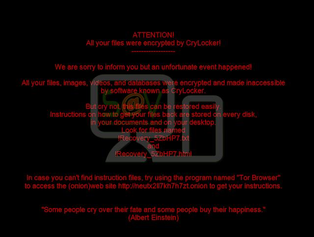 Mensaje CryLocker