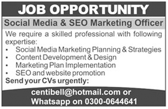 Social Media And SEO Marketing Officer Staff Required Jan 2018