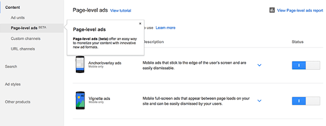 enable adsense page-level ads in blogger