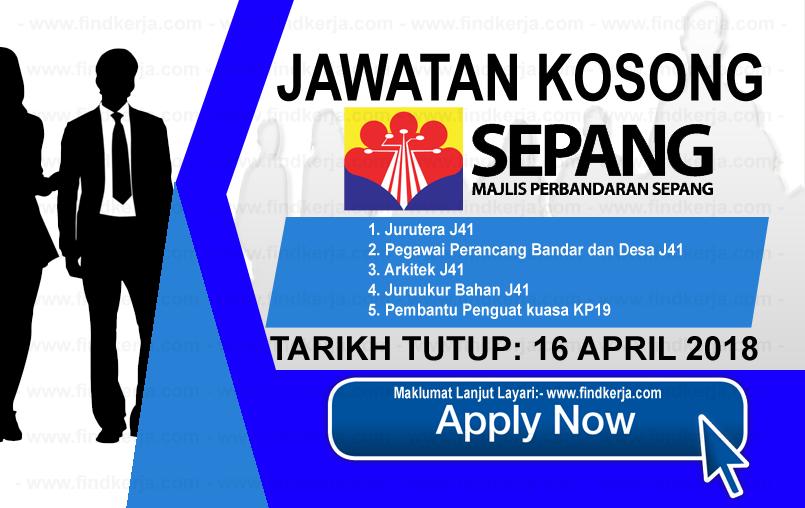 Jawatan Kerja Kosong MPSepang - Majlis Perbandaran Sepang logo www.findkerja.com april 2018