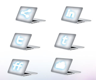 macbook style social icon set