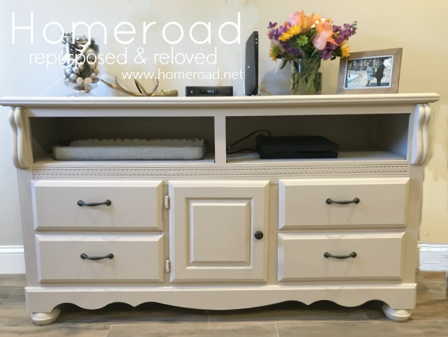 Repurposed white dresser in the living room
