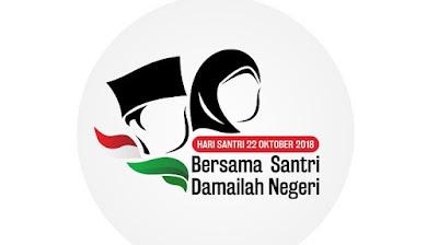 Logo Hari Santri Nasional 22 Oktober 2018, Bersama Santri Damailah Negeri