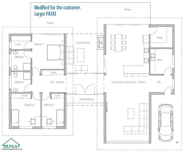 Denah Model Desain Gambar Rumah Minimalis Idaman Modern Tipe 286