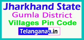 Gumla District Pin Codes in Jharkhand State