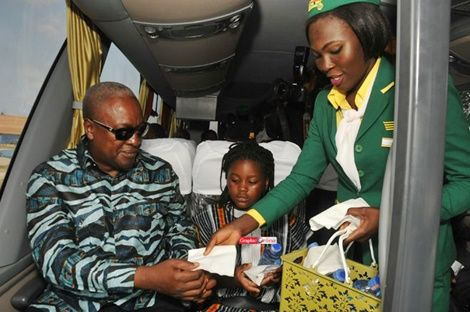Prez Mahama And Daughter Enjoy Ride In New STC Buses (Photos)