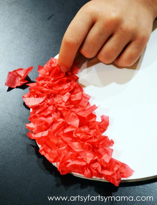 Valentine Tissue Paper Heart at artsyfartsymama.com #kidscraft #Valentine
