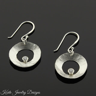 Hammered Saucers with Cubic Zirconia