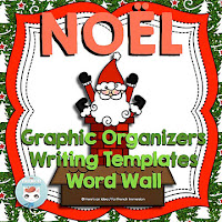 French Christmas Word Wall, Graphic Organizers & Writing Prompts