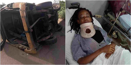 Woman Survives Accident On Otedola Bridge In Lagos (Photos)