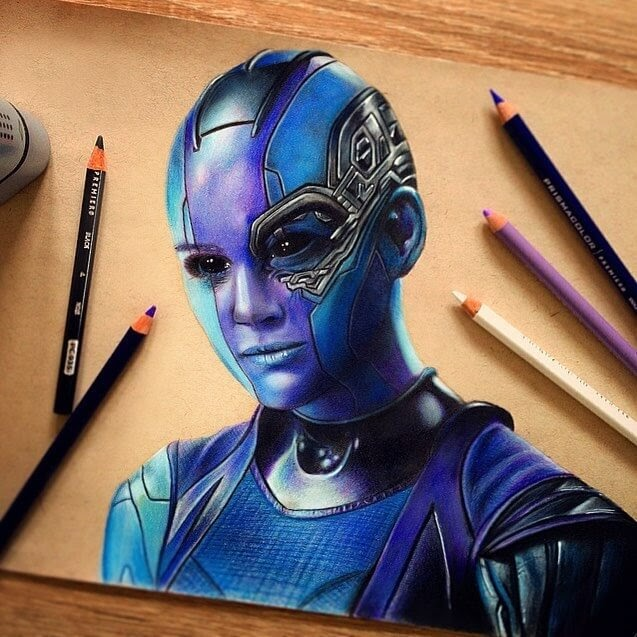 09-Nebula-from-Guardians-of-the-Galaxy-Chris-Superhero-and-Villain-Realistic-Pencil-Drawings-www-designstack-co