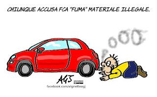 Marchionne, Fiat, FCA, emissioni, dieselgate, motori, automobili, inquinamento, vignetta, satira