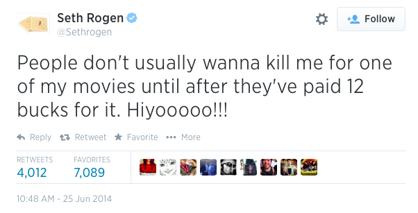 Seth Rogen laughs at the backlash his film has sparked.