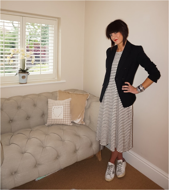 My Midlife Fashion, Marks and Spencer limited collection double breasted jacket, zara midi stripe dress, hipanema tahiti bracelet, golden goose trainers