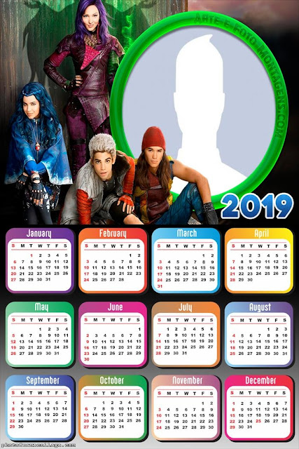 Descendants 2019 Free Printable Calendar.