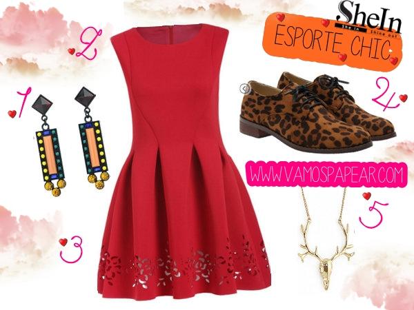 Lista de Desejos Shein Vestido Vermelho, Brinco colorido,Oxford Animal Print,Look Esporte Chic