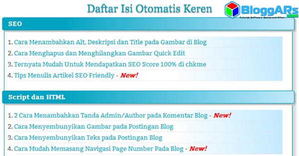 Cara Membuat Daftar Isi Otomatis Keren pada Blog