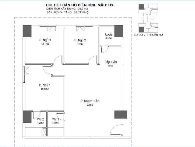 căn hộ B3 98m, tòa Park 1 2 3 Eurowindown Đông Trù