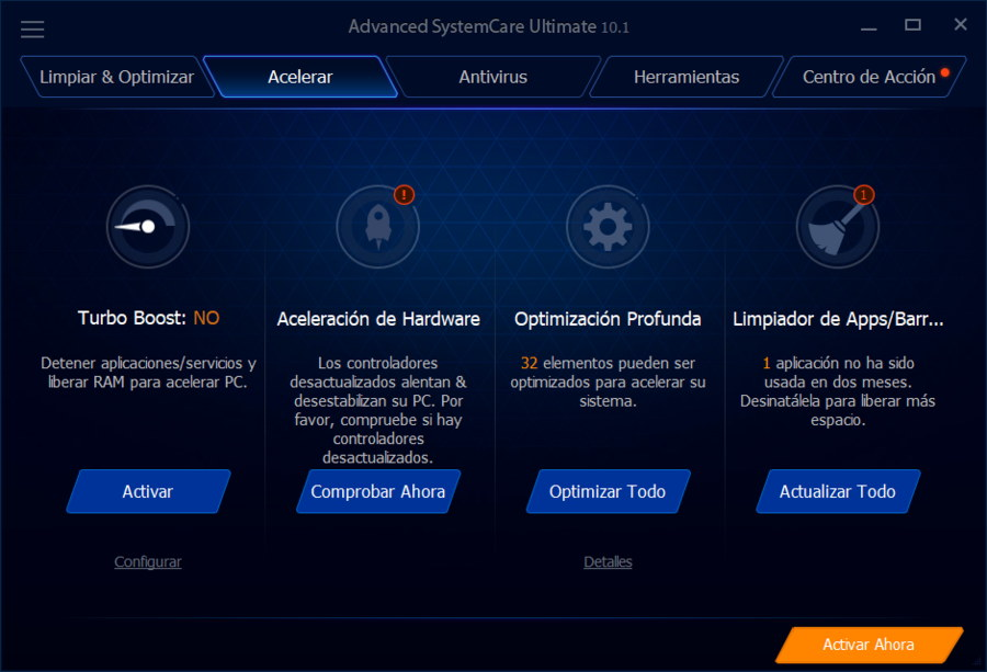Advanced SystemCare Ultimate 10 Acelerar Windows