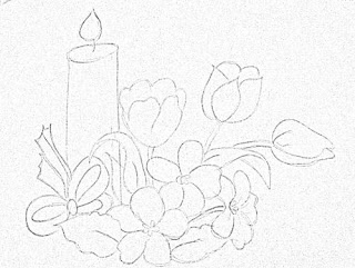 risco velas de natal e tulipas