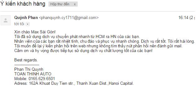 Ý kiến phản hồi từ  Quỳnh Phan về dịch vụ vận chuyển Max sài gòn