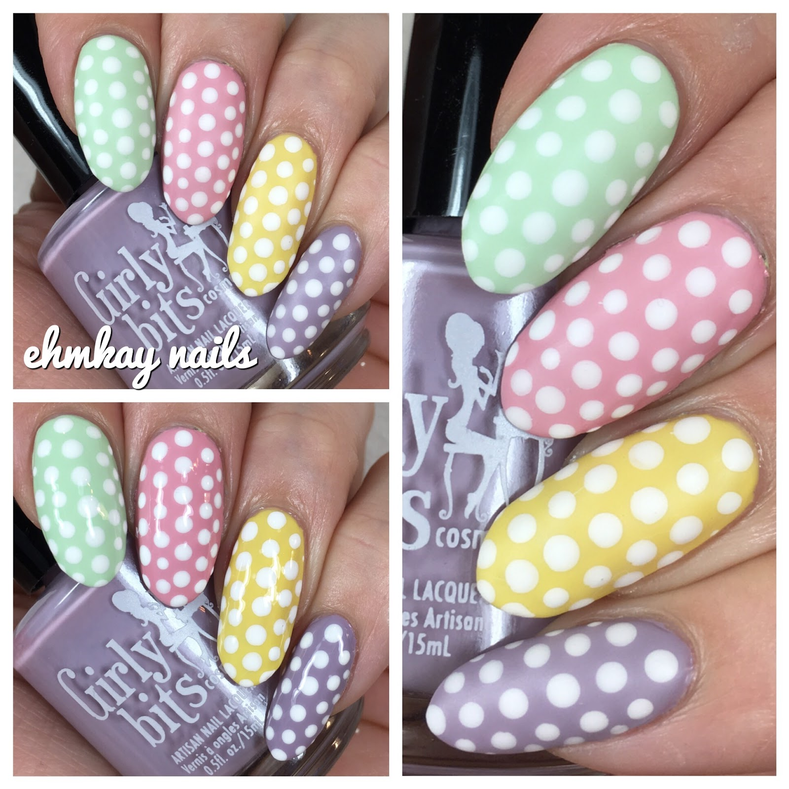 Ehmkay Nails: Easter Nail Art: Pastel Polka Dots