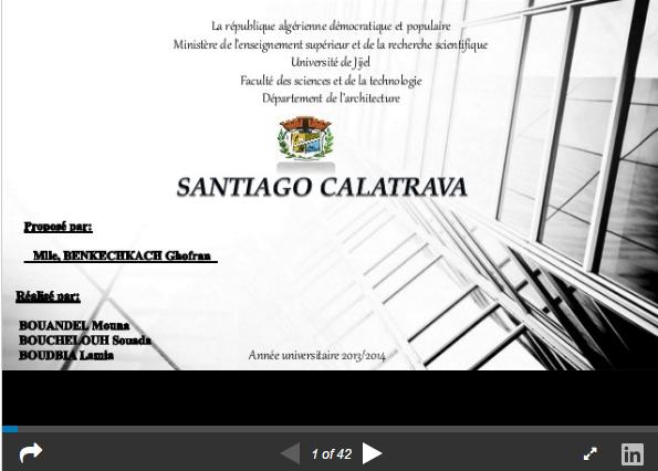 Exposée sur l'architect Santiago calatrava valls